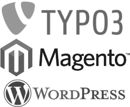 Logos TYPO3 Magento Wordpress